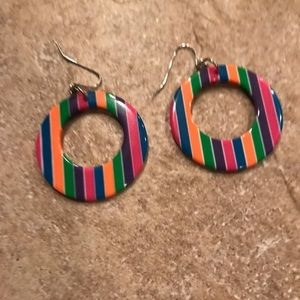 Jewelry - 80s hoop striped earrings